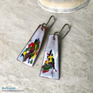painterly enamel earrings