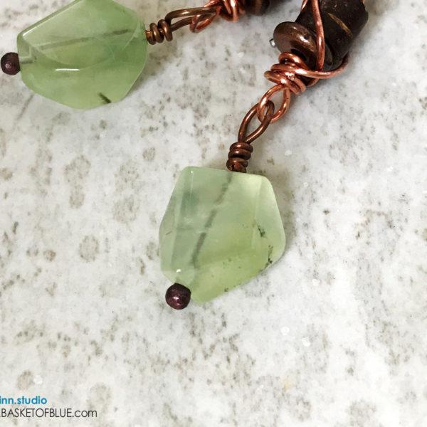 Green Prehnite Dangle Earrings