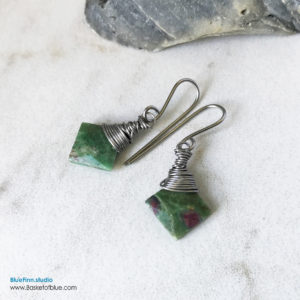Ruby in Fuchsite Small Dangle Earrings
