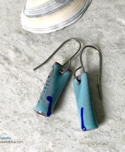 blue enamel tube earrings