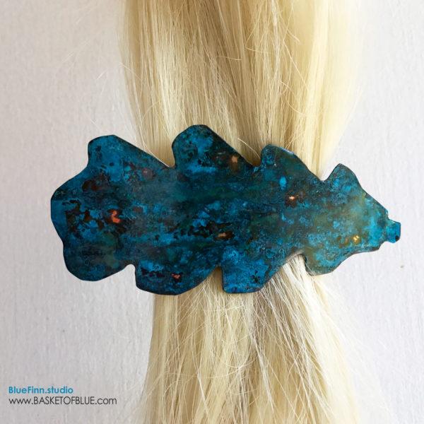 Blue Patina Barrette Oak Leaf Hair Clip