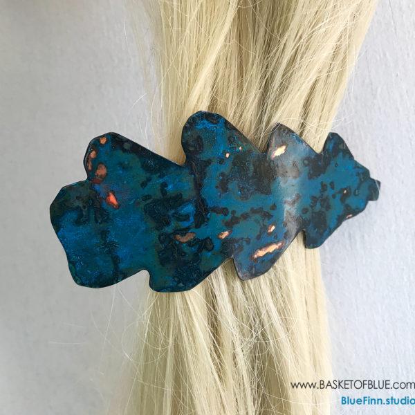 Blue Patina Barrette