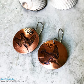 Woodcock Bird coin Earrings Copper