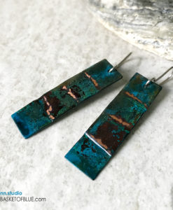 Rustic patina earrings - long rectangle