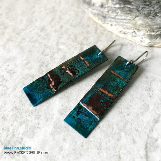 Rustic patina earrings - long rectangle