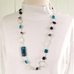 Long Blue Bead Necklace with Quartz