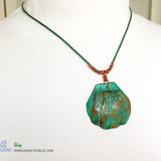 Copper verdigris pendant - green copper shell necklace