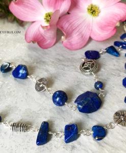 Long Lapis Bead Necklace