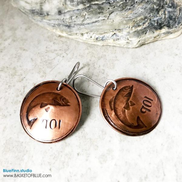 Fish Earrings Hand Stamped Copper Salmon Earrings