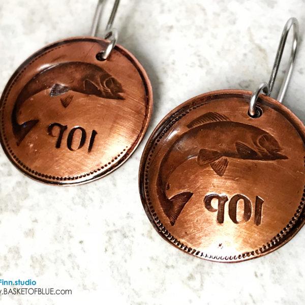 Copper Salmon Earrings