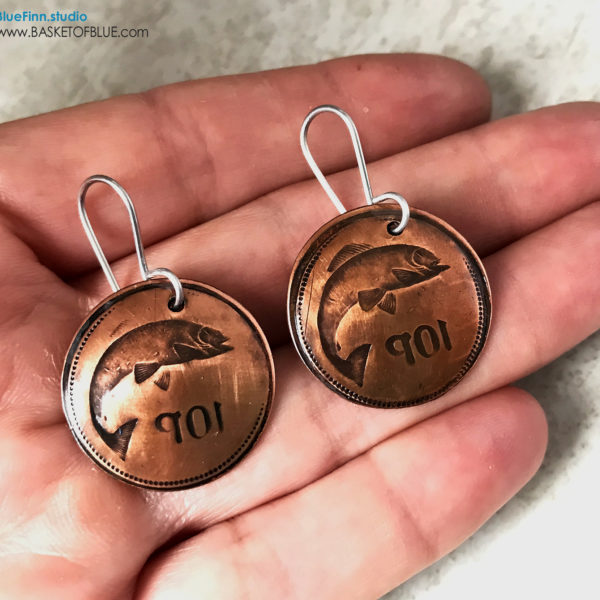 Copper Salmon Earrings Hand Stamped Fish Coin