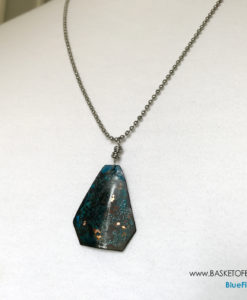 Rustic blue patina triangle necklace