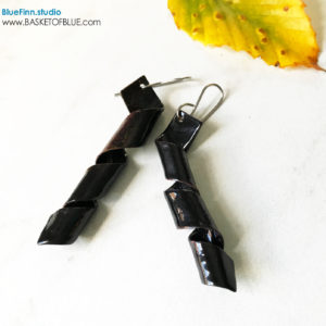 Black twist enamel corkscrew earrings
