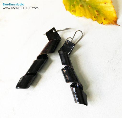 Black twist enamel corkscrew earrings