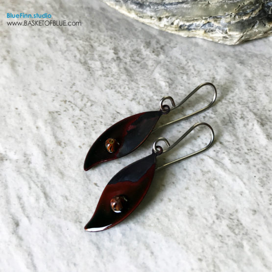 Black enamel leaf earrings