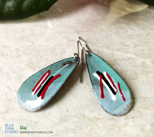 blue long art color teardrop earrings