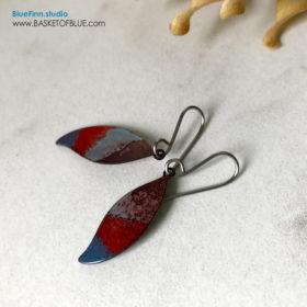Red Blue Leaf Earrings