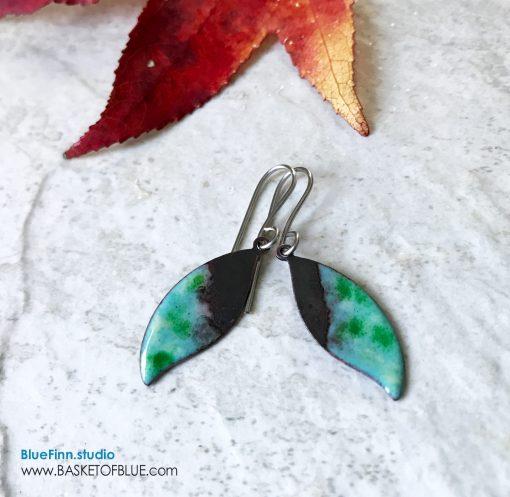 Small green enamel leaf earrings