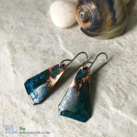 Blue Patina Triangle Earrings