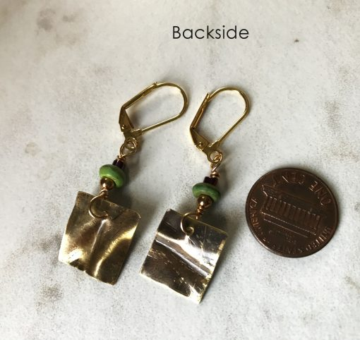 Hammered Brass Dangle Earrings