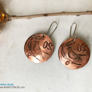 Copper Coin Bird on a Wire Earrings