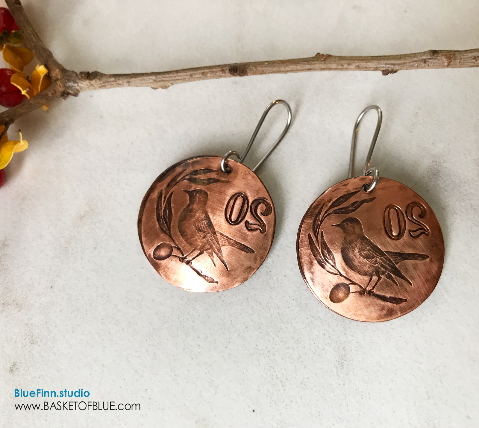 Copper Coin Earrings Bird on a Wire - Basket of Blue