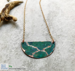 Copper Verdigris Half Moon Patina Necklace
