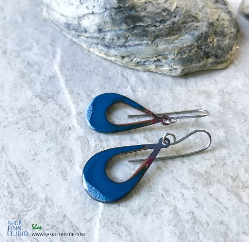 Blue Open Teardrop Earrings Enamel and Fire patina