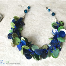 Blue Mussel Shell Chunky Necklace