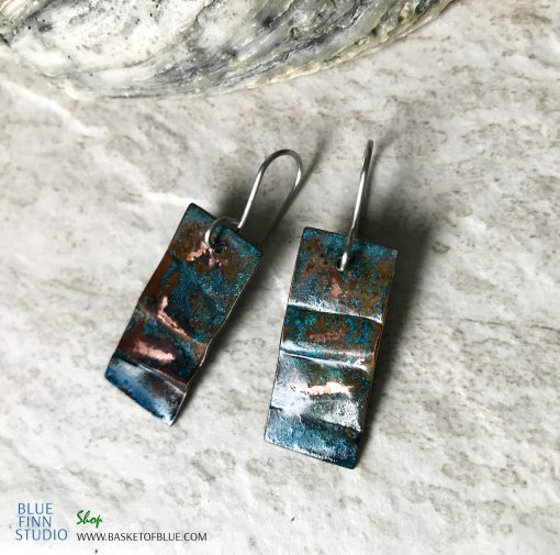 Rustic Blue Patina Earrings