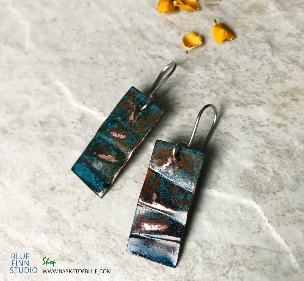 Rustic Blue Patina Earrings