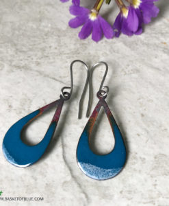 blue open teardrop enamel earrings