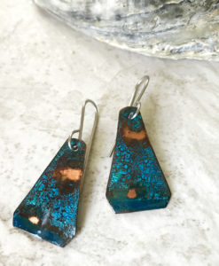 blue patina triangle earrings