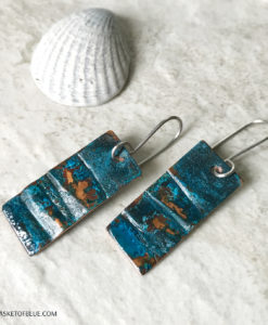 rustic blue patina rectangle earrings