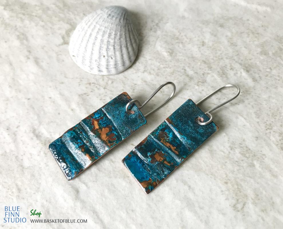 rustic blue patina rectangle earrings