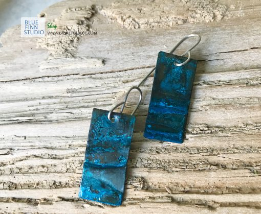 blue patina earrings rustic rectangle