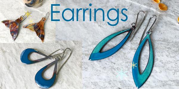 Earrings - Handmade copper, enamel