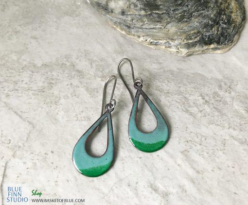 green open hoop oval earrings
