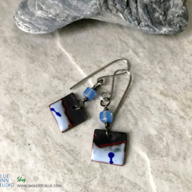 Blue Enamel Small Bead Dangle Earrings