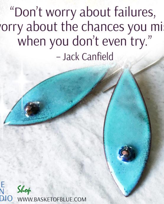 Blue Oval Enamel Earrings with Murrini Glass