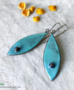 Blue Oval Enamel Earrings with Murrini Glass