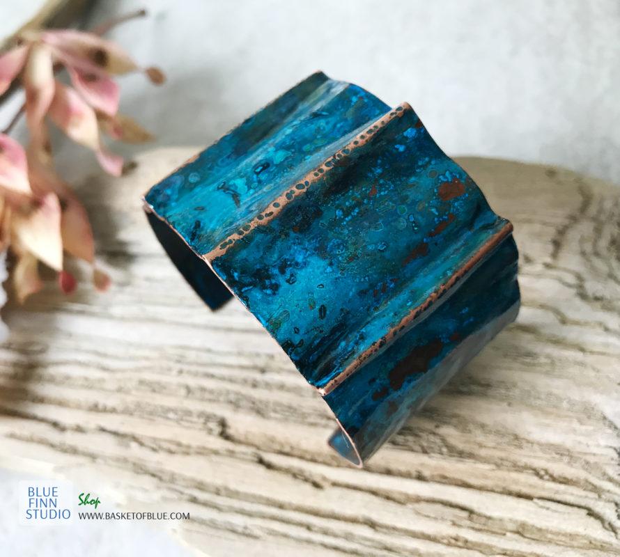 blue patina cuff bracelet
