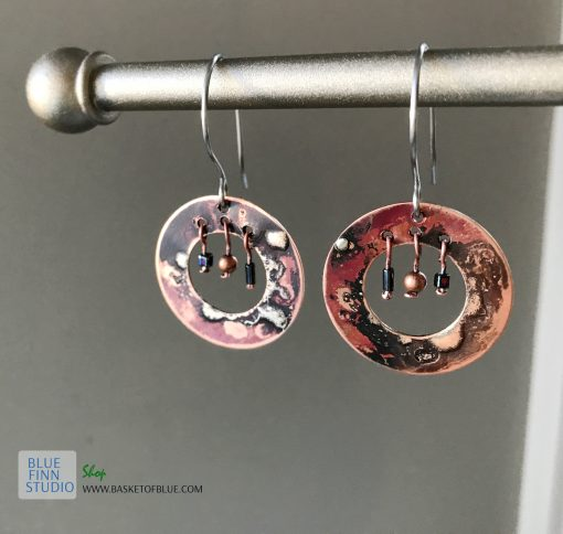 Boho hoop mixed metal earrings
