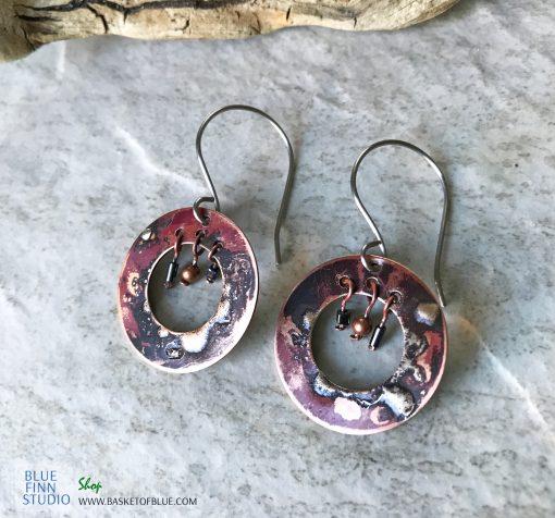 Boho hoop mixed metal earrings
