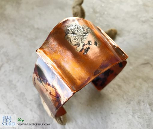 copper silver cuff flame painted