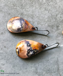 Mixed Metal Copper and Silver Flamed Teardrop Earrings
