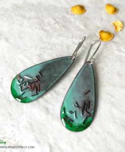 Green Enamel Copper Sprinkle Earrings