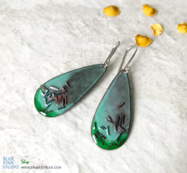 Green Enamel Copper Sprinkle Earrings