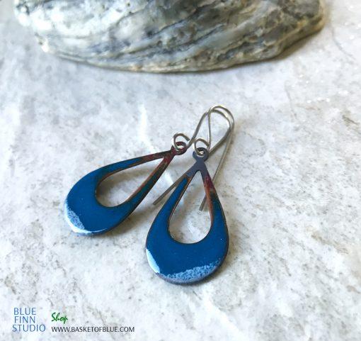 Blue Open teardrop enamel Earrings