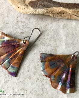 Mermaid tail Flamed Copper Earrings